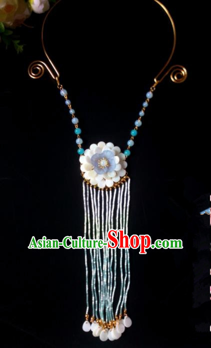 Chinese Handmade Hanfu Long Tassel Necklace Traditional Ancient Princess Necklet Jewelry Accessories for Women