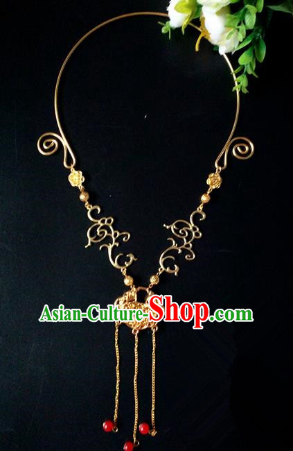 Chinese Handmade Hanfu Golden Tassel Necklace Traditional Ancient Princess Necklet Jewelry Accessories for Women