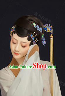 Chinese Handmade Hanfu Palace Hairpins Blueing Hair Clip Traditional Ancient Princess Hair Accessories for Women