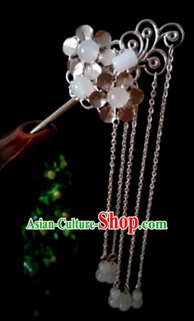 Chinese Handmade Hanfu Palace Jade Tassel Hair Clip Hairpins Traditional Ancient Princess Hair Accessories for Women