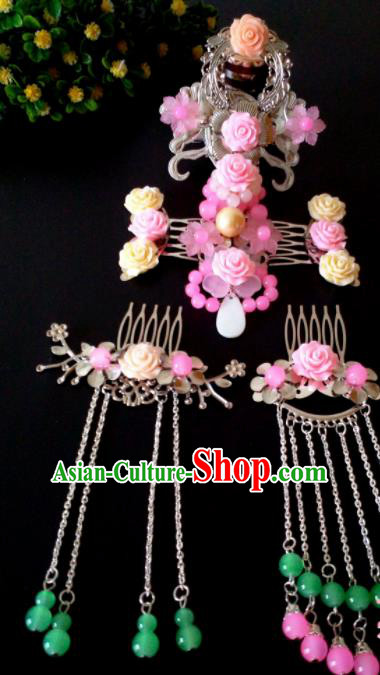Chinese Handmade Hanfu Palace Hairpins Pink Flowers Phoenix Coronet Traditional Ancient Princess Hair Accessories for Women