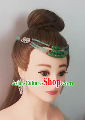 Handmade Chinese Palace Green Beads Hair Clasp Princess Hairpins Ancient Traditional Hanfu Hair Accessories for Women