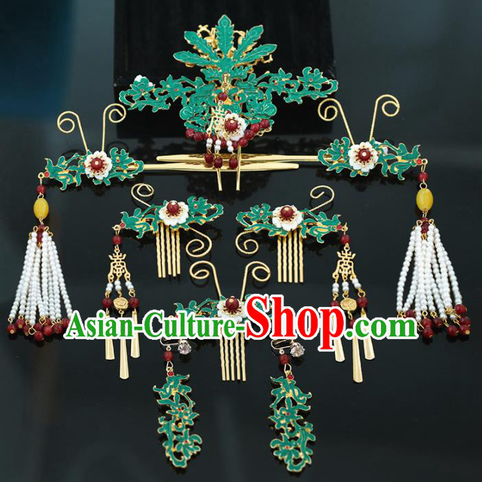 Handmade Chinese Ancient Wedding Bride Phoenix Hair Clips Tassel Hairpins Traditional Hanfu Hair Accessories for Women