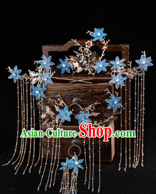 Handmade Chinese Wedding Hairpins Blue Flowers Phoenix Coronet Ancient Traditional Hanfu Hair Accessories for Women