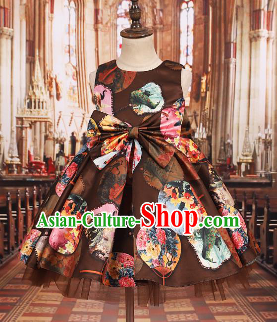 Professional Girls Catwalks Waltz Dance Printing Brown Dress Modern Fancywork Compere Stage Show Costume for Kids