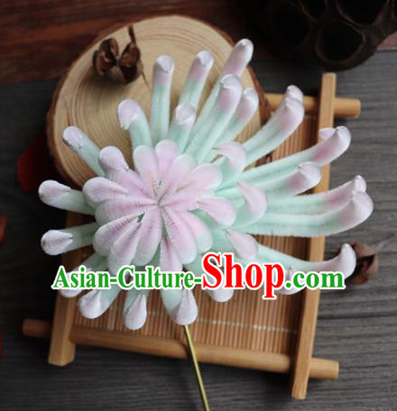 Chinese Handmade Green Velvet Chrysanthemum Hairpins Ancient Palace Hair Accessories Headwear for Women