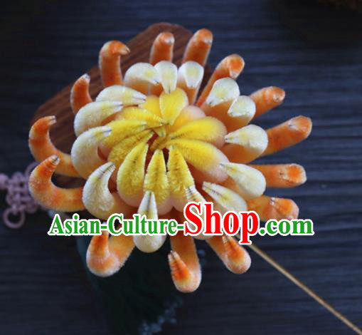 Chinese Handmade Yellow Velvet Chrysanthemum Hairpins Ancient Palace Hair Accessories Headwear for Women