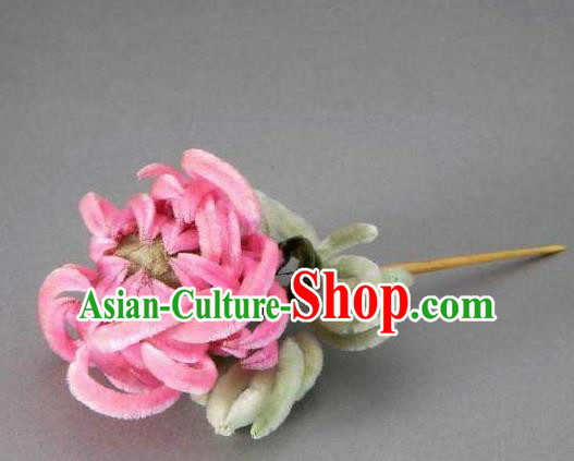 Chinese Handmade Velvet Chrysanthemum Hairpins Ancient Palace Hair Accessories Headwear for Women