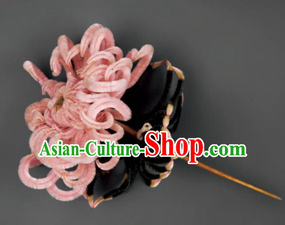 Chinese Handmade Pink Velvet Chrysanthemum Hairpins Ancient Palace Queen Hair Accessories Headwear for Women