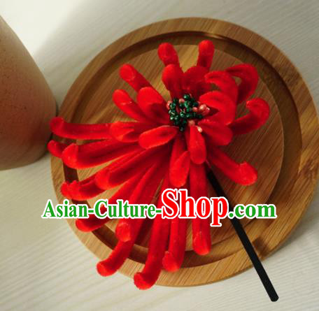 Chinese Handmade Palace Red Velvet Chrysanthemum Hairpins Ancient Queen Hair Accessories Headwear for Women