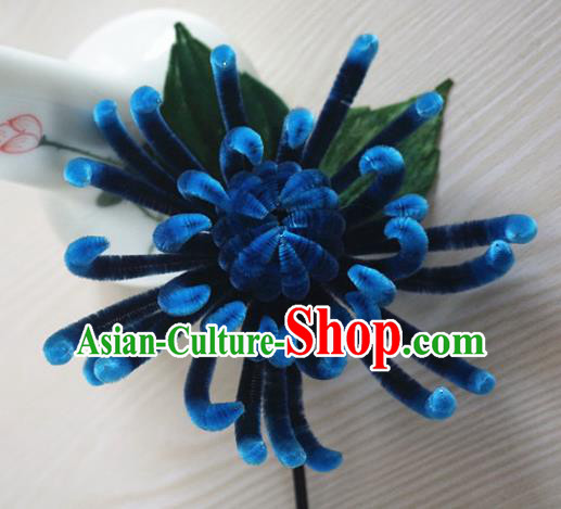 Chinese Handmade Palace Navy Velvet Chrysanthemum Hairpins Ancient Queen Hair Accessories Headwear for Women