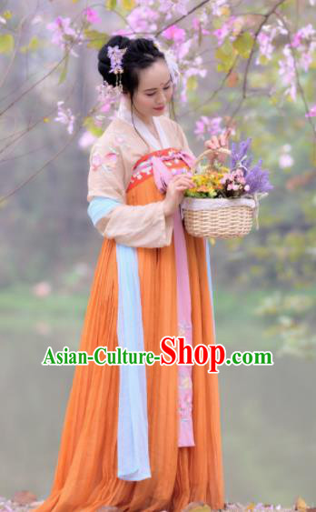 Chinese Traditional Tang Dynasty Young Lady Historical Costume Ancient Peri Hanfu Dress for Women