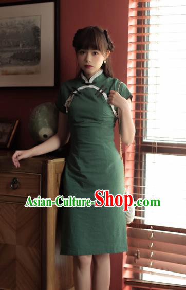 Chinese Classical National Deep Green Short Cheongsam Traditional Tang Suit Qipao Dress for Women
