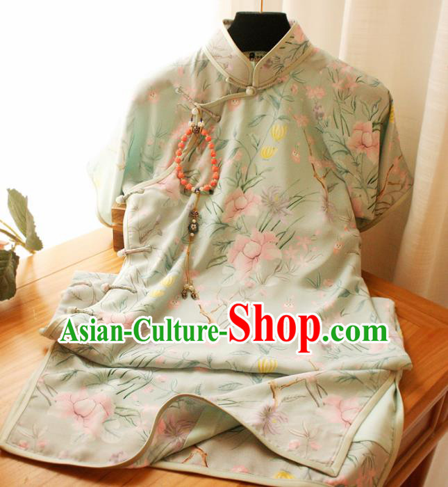 Traditional Chinese National Green Silk Cheongsam Classical Tang Suit Qipao Dress for Women