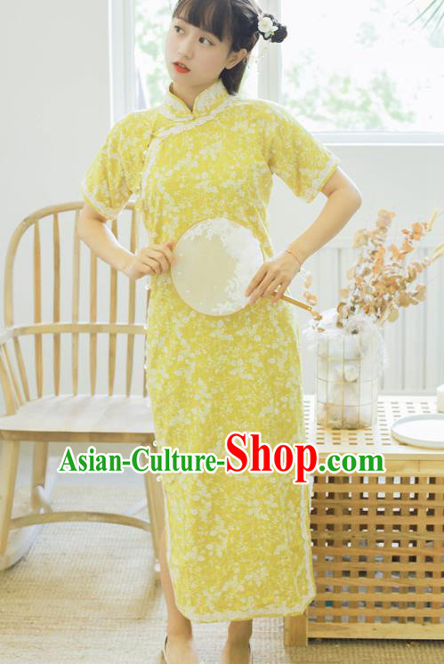 Traditional Chinese National Yellow Cheongsam Classical Tang Suit Qipao Dress for Women