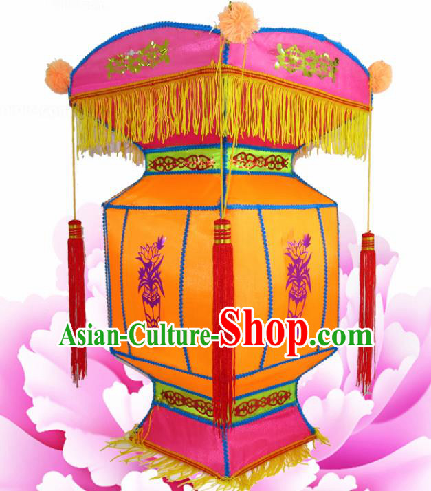 Handmade Chinese Palace Lanterns Traditional Printing Lotus Orange Lantern Ancient Ceiling Lamp
