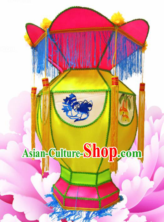 Handmade Chinese Palace Lanterns Traditional New Year Yellow Lantern Ancient Ceiling Lamp