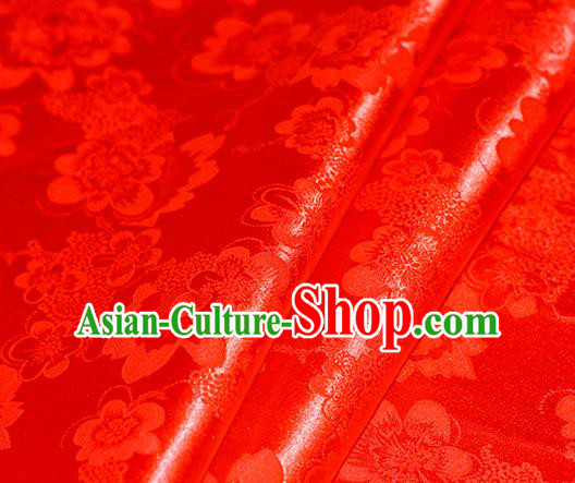 Chinese Traditional Hanfu Royal Peony Pattern Red Brocade Material Cheongsam Classical Fabric Satin Silk Fabric