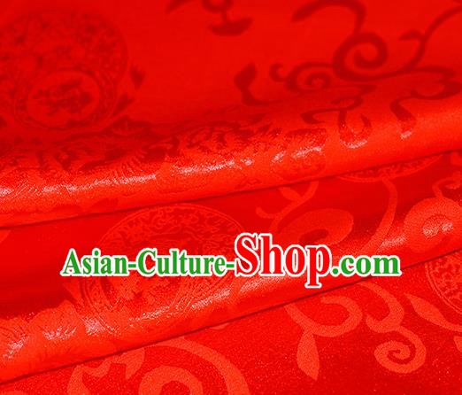 Chinese Traditional Hanfu Royal Rich Pattern Red Brocade Material Cheongsam Classical Fabric Satin Silk Fabric