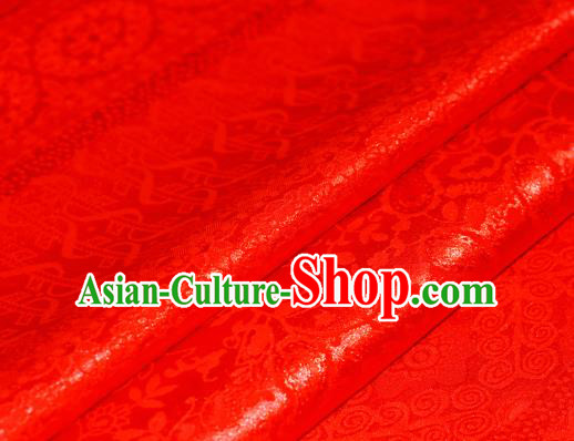 Chinese Traditional Hanfu Royal Wealth Pattern Red Brocade Material Cheongsam Classical Fabric Satin Silk Fabric