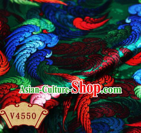 Chinese Traditional Fabric Classical Wings Pattern Design Green Brocade Cheongsam Satin Material Silk Fabric