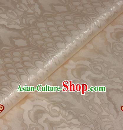 Chinese Traditional Royal Scale Pattern Beige Brocade Material Cheongsam Classical Fabric Satin Silk Fabric