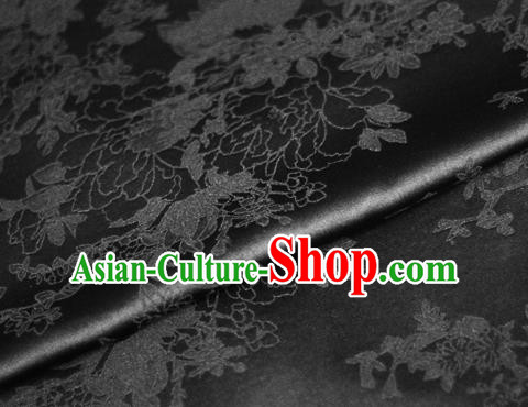Chinese Traditional Royal Pattern Black Brocade Material Cheongsam Classical Fabric Satin Silk Fabric