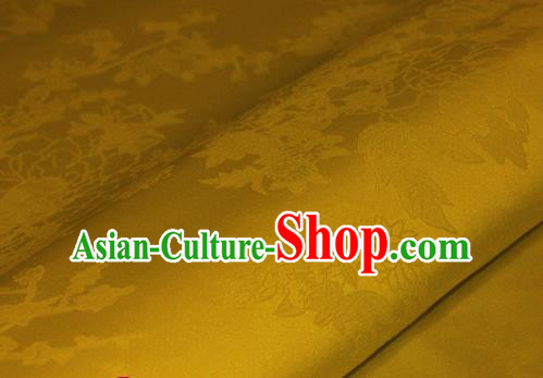Chinese Traditional Royal Pattern Yellow Brocade Material Cheongsam Classical Fabric Satin Silk Fabric