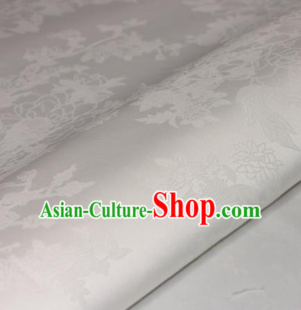Chinese Traditional Royal Flowers Pattern White Brocade Material Cheongsam Classical Fabric Satin Silk Fabric