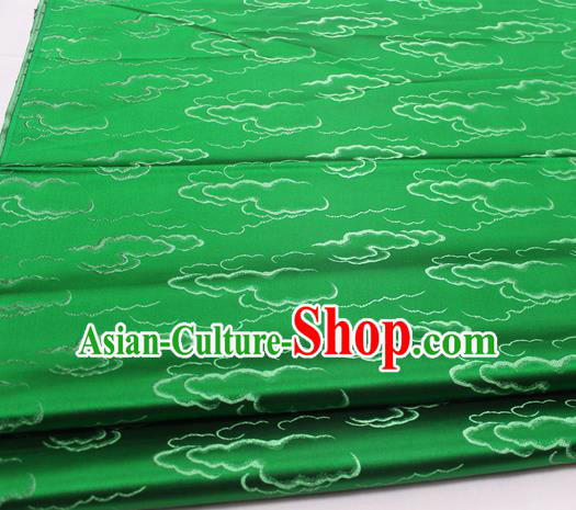 Chinese Traditional Tang Suit Royal Clouds Pattern Green Brocade Satin Fabric Material Classical Silk Fabric