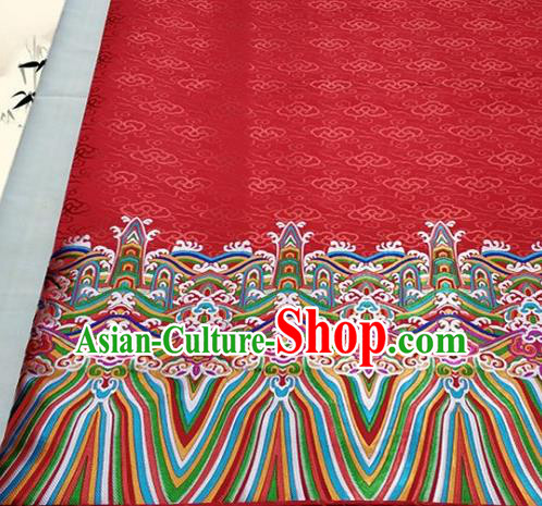 Asian Chinese Traditional Tang Suit Royal Waves Pattern Red Brocade Satin Fabric Material Classical Silk Fabric