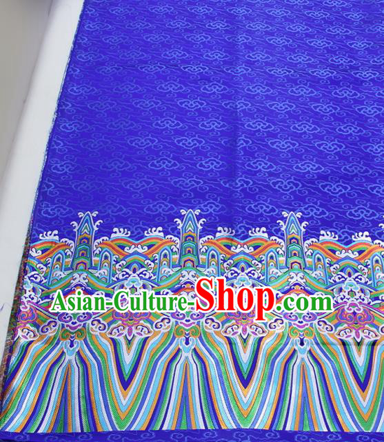 Asian Chinese Traditional Tang Suit Royal Waves Pattern Royalblue Brocade Satin Fabric Material Classical Silk Fabric