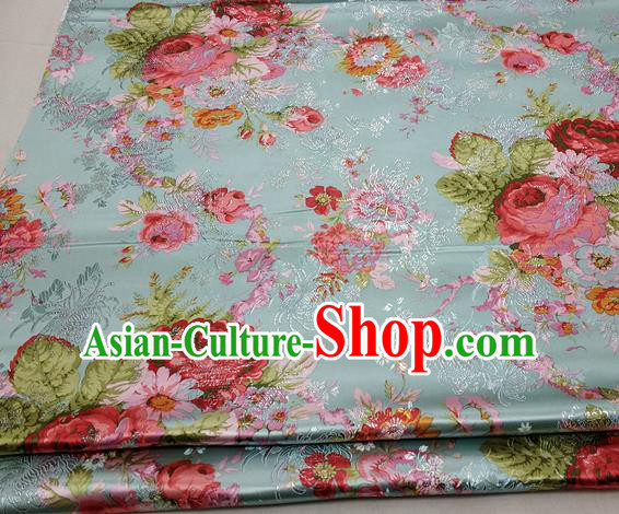 Chinese Traditional Fabric Royal Peony Pattern Green Brocade Material Hanfu Classical Satin Silk Fabric