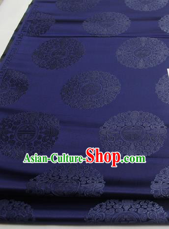 Asian Chinese Traditional Tang Suit Royal Round Pattern Navy Brocade Satin Fabric Material Classical Silk Fabric