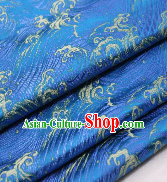 Asian Chinese Traditional Classical Waves Pattern Blue Brocade Tang Suit Satin Fabric Material Classical Silk Fabric