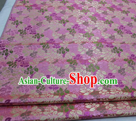 Asian Chinese Traditional Classical Leaf Pattern Pink Brocade Tang Suit Satin Fabric Material Classical Silk Fabric