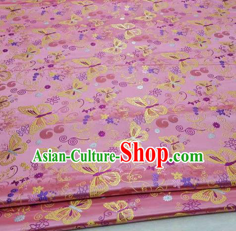 Asian Chinese Traditional Classical Butterfly Pattern Pink Brocade Tang Suit Satin Fabric Material Classical Silk Fabric