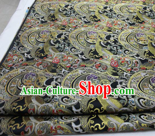 Asian Chinese Traditional Tang Suit Royal Waves Pattern Black Brocade Satin Fabric Material Classical Silk Fabric