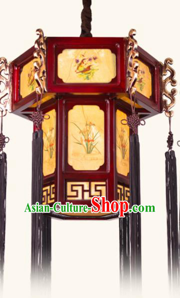 Chinese Traditional Wood Hanging Lantern Handmade New Year Ink Painting Palace Lanterns Ceiling Lamp