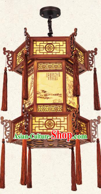 Chinese Traditional Wood Dragon Head Palace Lantern Handmade New Year Hanging Lanterns Ceiling Lamp