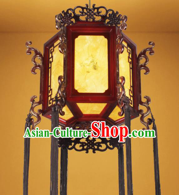 Chinese Traditional Ink Painting Wood Palace Lantern Handmade New Year Hanging Lanterns Ceiling Lamp