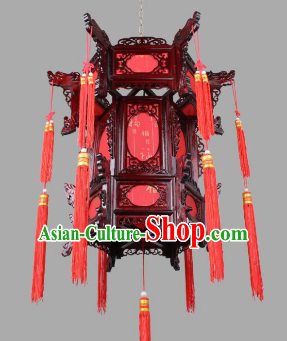 Chinese Traditional Handmade Wood Carving Red Palace Lantern Classical Hanging Lanterns Ceiling Lamp