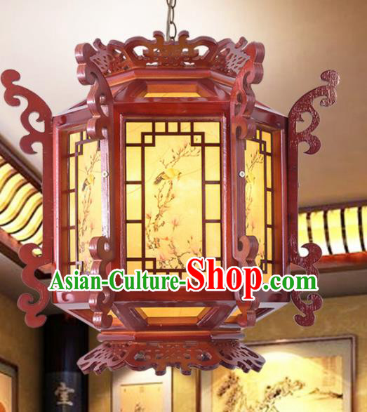 Chinese Traditional Handmade Hexagonal Wood Carving Palace Lantern Classical Hanging Lanterns Ceiling Lamp