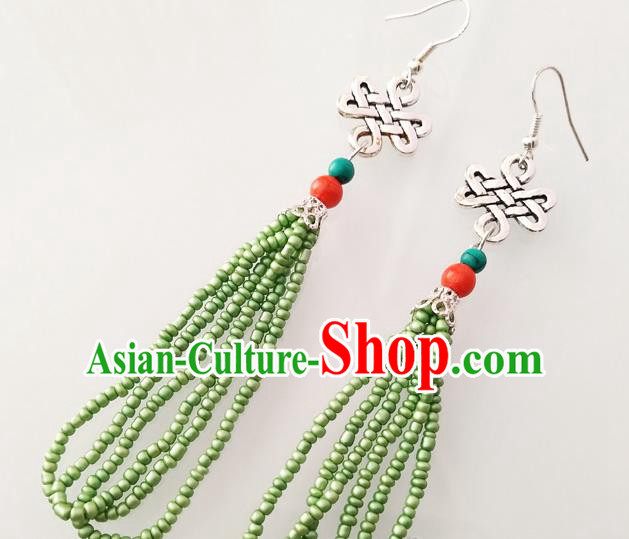 Traditional Chinese Mongol Nationality Green Beads Ear Accessories Mongolian Ethnic Folk Dance Earrings for Women