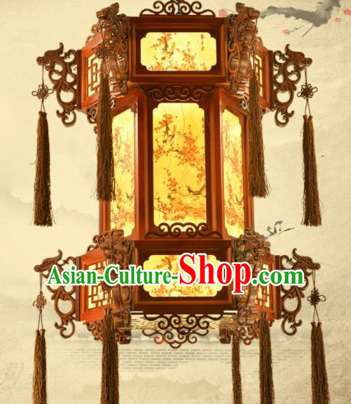 Chinese Traditional Handmade Wood Carving Dragon Head Palace Lantern Classical Hanging Lanterns Ceiling Lamp