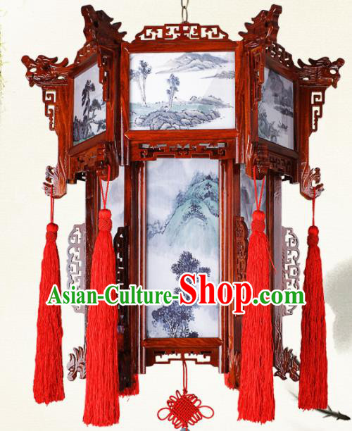 Chinese Traditional Dragon Head Wood Palace Lantern Handmade Hanging Lanterns Ceiling Lamp