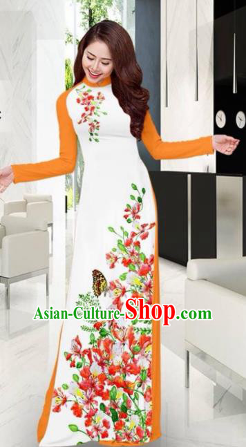 Vietnam Traditional National Printing Flowers Butterfly White Ao Dai Dress Asian Vietnamese Cheongsam for Women