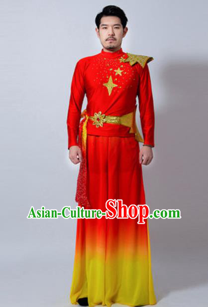 Chinese Folk Dance Yanko Dance Red Costume Classical Dance Drum Dance Clothing for Men