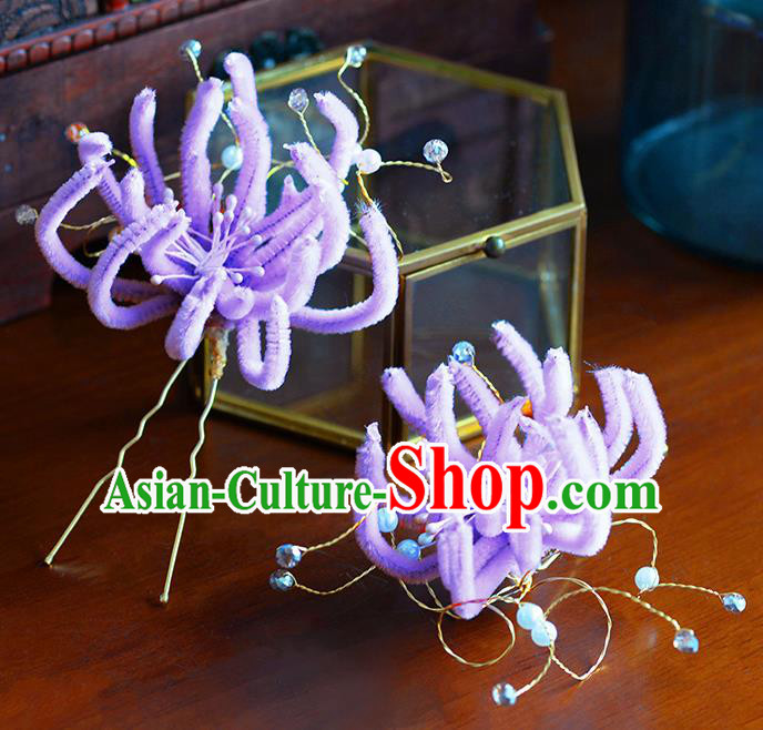 Traditional Chinese Ancient Palace Purple Velvet Chrysanthemum Hair Clip Hairpins Handmade Wedding Hair Accessories for Women