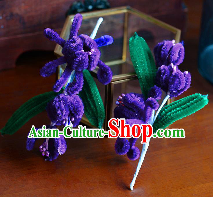 Traditional Chinese Ancient Palace Purple Velvet Flowers Hair Clip Hairpins Handmade Wedding Hair Accessories for Women